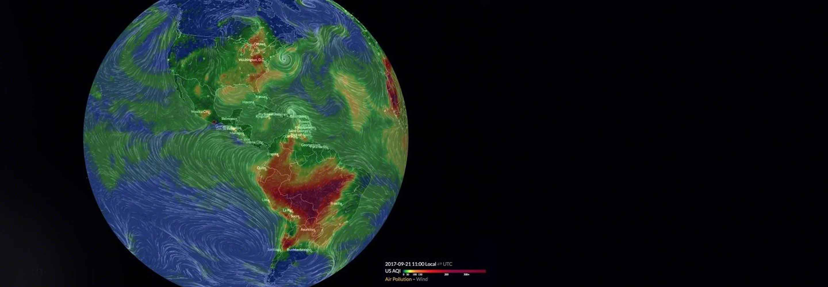 Graphic of Earth with AirVisual data overlayed