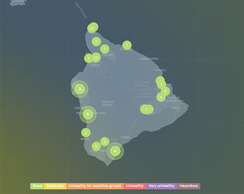 map of clean air on Kailua-Kona