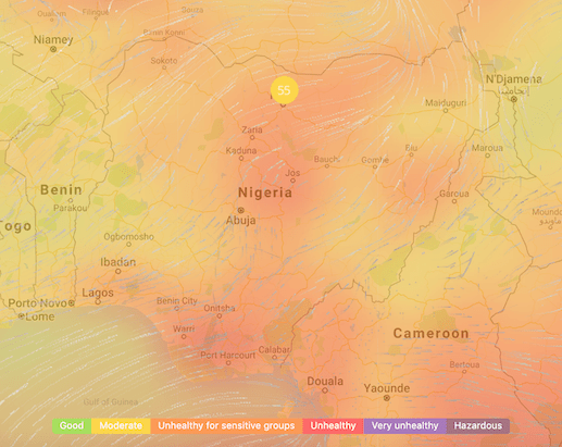 PM2.5 Heat Map of Nigeria