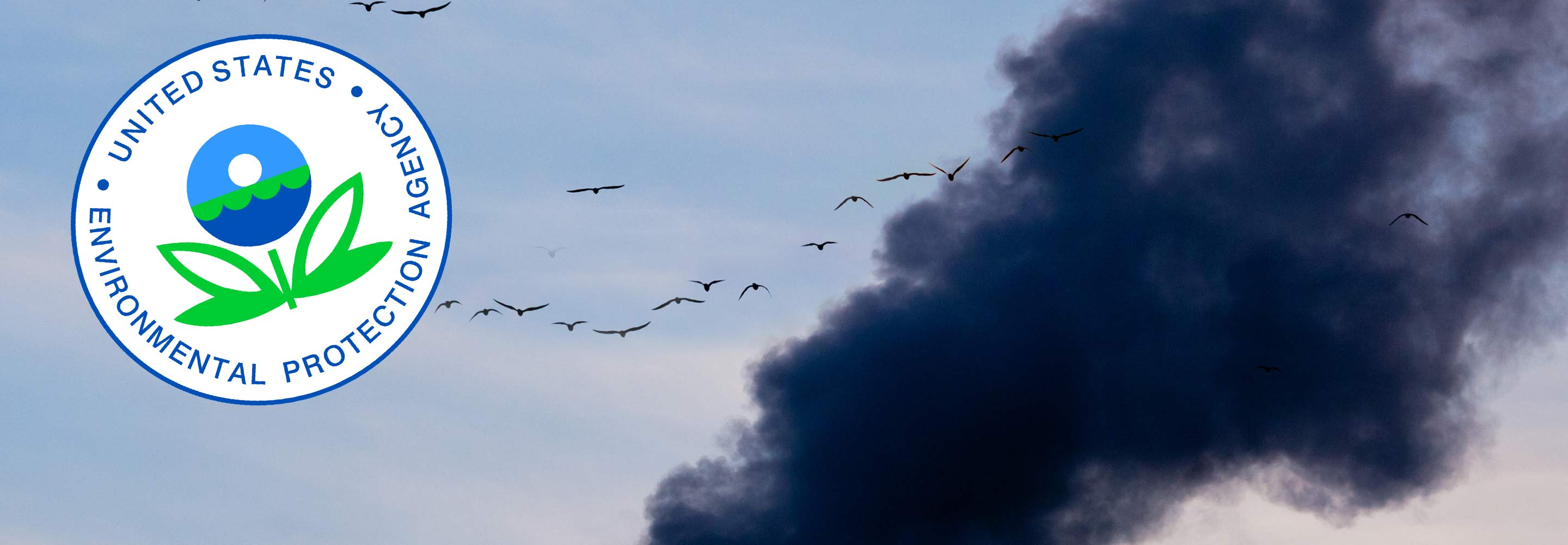 Migrating flock flying through industrial air pollution with EPA logo on corner