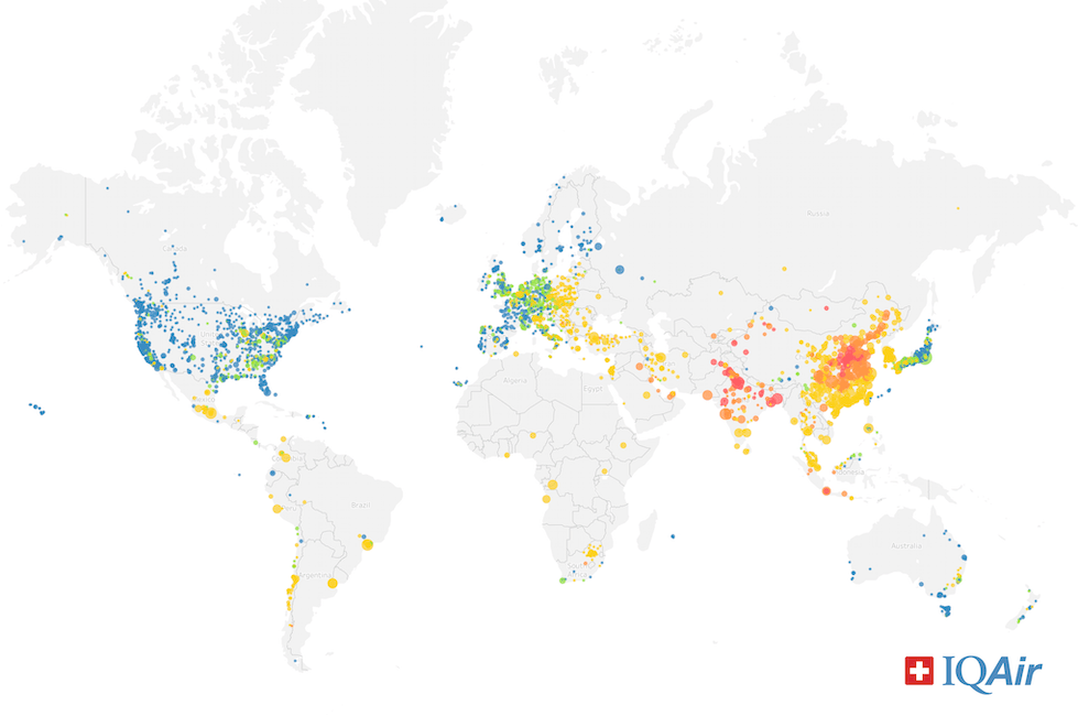 Global map of annual PM2.5 exposure by city with available data in 2019
