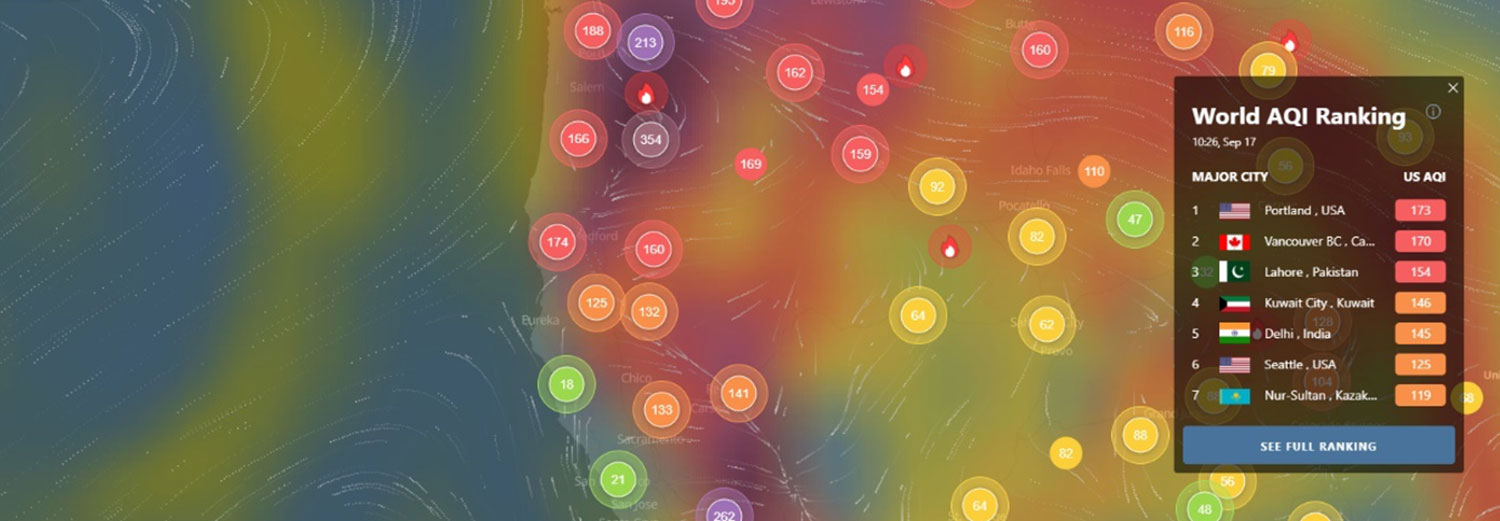 IQAir's air quality map