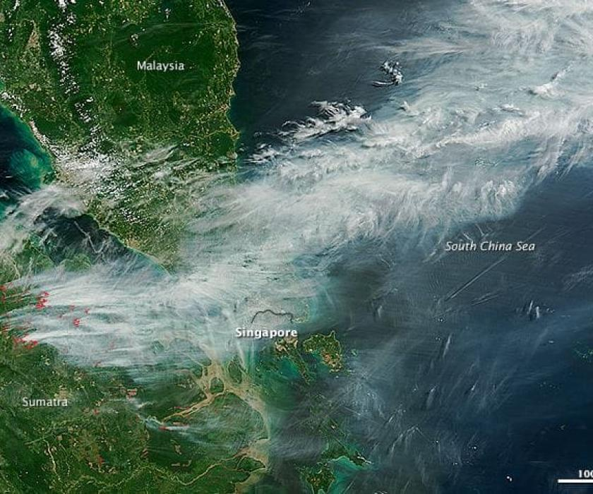 Pollution blowing over Singapore.