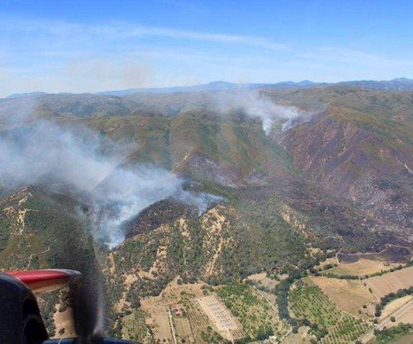 Sand fire aerial view