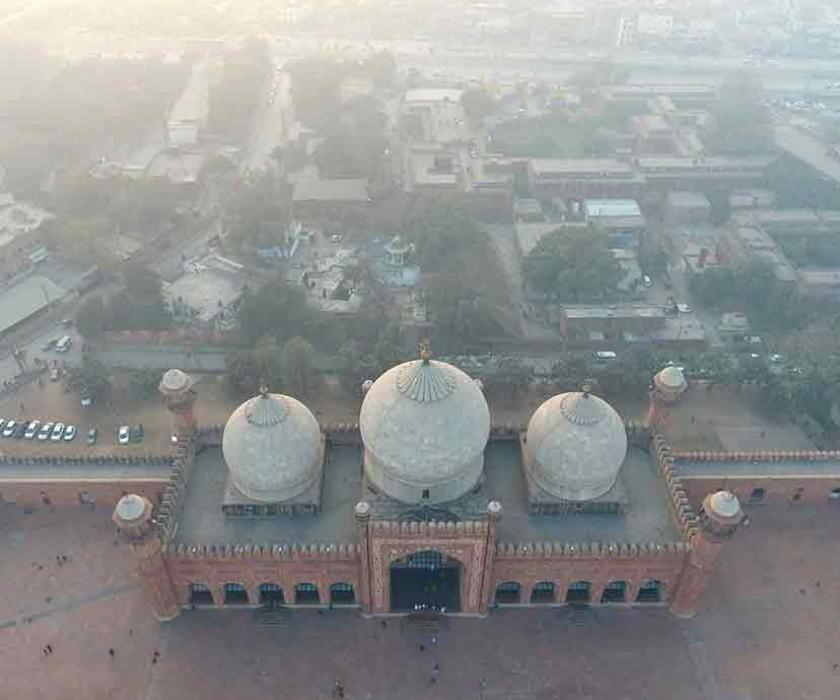 Building with smog in Pakistan