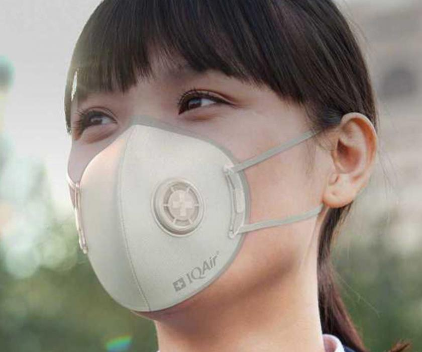 Woman with IQAir Mask